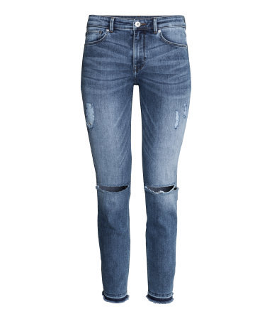 Skinny Regular Ankle Jeans - style: skinny leg; pattern: plain; pocket detail: traditional 5 pocket; waist: mid/regular rise; predominant colour: denim; occasions: casual, evening; length: ankle length; fibres: cotton - stretch; jeans detail: whiskering, shading down centre of thigh; texture group: denim; season: s/s 2014