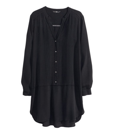 Short Dress - style: tunic; length: mid thigh; neckline: v-neck; fit: loose; pattern: plain; bust detail: subtle bust detail; predominant colour: black; occasions: casual, evening; fibres: viscose/rayon - 100%; sleeve length: long sleeve; sleeve style: standard; texture group: sheer fabrics/chiffon/organza etc.; pattern type: fabric; season: s/s 2014