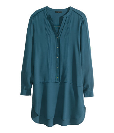Short Dress - style: tunic; length: mid thigh; neckline: low v-neck; fit: loose; pattern: plain; bust detail: subtle bust detail; predominant colour: teal; occasions: casual, evening; fibres: viscose/rayon - 100%; sleeve length: long sleeve; sleeve style: standard; texture group: sheer fabrics/chiffon/organza etc.; pattern type: fabric; season: s/s 2014