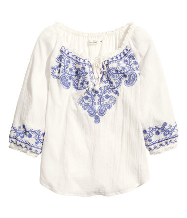 Bohemian Embroidered Blouse - neckline: round neck; style: blouse; predominant colour: white; secondary colour: denim; occasions: casual; length: standard; fibres: cotton - 100%; fit: straight cut; sleeve length: 3/4 length; sleeve style: standard; texture group: cotton feel fabrics; pattern type: fabric; pattern: patterned/print; embellishment: embroidered; season: s/s 2014
