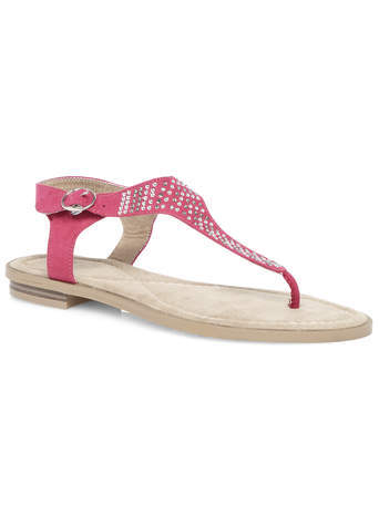 Eliza Pink Embellished Toe Post - secondary colour: ivory/cream; occasions: casual, holiday; material: faux leather; heel height: flat; embellishment: studs; ankle detail: ankle strap; heel: standard; toe: toe thongs; style: standard; finish: plain; pattern: plain; predominant colour: dusky pink; season: s/s 2014