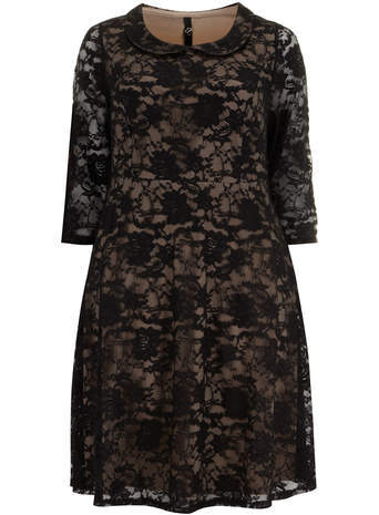 Black Peter Pan Lace Skater Dress - style: shift; secondary colour: nude; predominant colour: black; occasions: evening, occasion; length: on the knee; fit: soft a-line; fibres: nylon - 100%; neckline: no opening/shirt collar/peter pan; sleeve length: 3/4 length; sleeve style: standard; texture group: lace; pattern type: fabric; pattern: patterned/print; embellishment: lace; trends: lace; season: s/s 2014