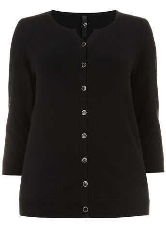 Black Button Through Cardigan - neckline: round neck; pattern: plain; predominant colour: black; occasions: casual, creative work; length: standard; style: standard; fibres: cotton - 100%; fit: standard fit; sleeve length: 3/4 length; sleeve style: standard; texture group: knits/crochet; pattern type: knitted - fine stitch; season: s/s 2014