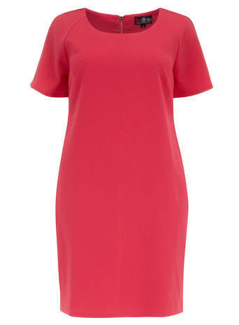Lovedrobe Pink Shift Dress - style: shift; neckline: round neck; pattern: plain; predominant colour: true red; occasions: casual, creative work; length: just above the knee; fit: body skimming; sleeve length: short sleeve; sleeve style: standard; texture group: jersey - stretchy/drapey; fibres: viscose/rayon - mix; season: s/s 2014