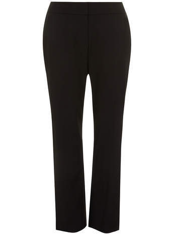 Black Pear Fit Straight Leg Trousers - length: standard; pattern: plain; pocket detail: small back pockets, pockets at the sides; waist: mid/regular rise; predominant colour: black; occasions: work, creative work; fibres: polyester/polyamide - mix; texture group: crepes; fit: straight leg; style: standard; season: s/s 2014; brand specific: pear fit