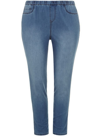 Lightwash Blue Jeggings - style: skinny leg; pattern: plain; waist: mid/regular rise; predominant colour: denim; occasions: casual, creative work; length: ankle length; fibres: cotton - stretch; texture group: denim; season: s/s 2014