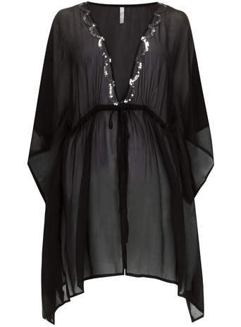 Black Sequin Kaftan - neckline: plunge; sleeve style: angel/waterfall; pattern: plain; style: kaftan; waist detail: belted waist/tie at waist/drawstring; predominant colour: black; fibres: polyester/polyamide - 100%; fit: loose; length: mid thigh; hip detail: subtle/flattering hip detail; sleeve length: 3/4 length; texture group: sheer fabrics/chiffon/organza etc.; occasions: holiday; pattern type: fabric; embellishment: sequins; season: s/s 2014; wardrobe: holiday; embellishment location: bust
