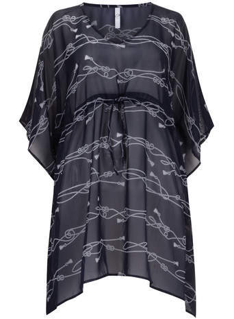 Navy Rope Print Kaftan - neckline: v-neck; sleeve style: kimono; style: kaftan; waist detail: belted waist/tie at waist/drawstring; secondary colour: white; predominant colour: navy; fibres: polyester/polyamide - 100%; fit: loose; length: mid thigh; sleeve length: 3/4 length; texture group: sheer fabrics/chiffon/organza etc.; occasions: holiday; pattern type: fabric; pattern size: light/subtle; pattern: patterned/print; season: s/s 2014