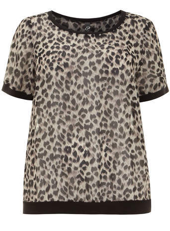 Brown Animal Print Top - neckline: round neck; style: t-shirt; predominant colour: stone; secondary colour: black; occasions: casual; length: standard; fibres: polyester/polyamide - 100%; fit: straight cut; sleeve length: short sleeve; sleeve style: standard; texture group: sheer fabrics/chiffon/organza etc.; pattern type: fabric; pattern: animal print; season: s/s 2014; pattern size: big & busy (top)