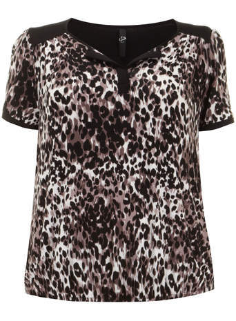 Brown Animal Print Bubble Top - neckline: v-neck; shoulder detail: contrast pattern/fabric at shoulder; predominant colour: stone; secondary colour: black; occasions: casual, creative work; length: standard; style: top; fibres: viscose/rayon - stretch; fit: straight cut; sleeve length: short sleeve; sleeve style: standard; pattern type: fabric; pattern size: standard; pattern: animal print; texture group: woven light midweight; season: s/s 2014