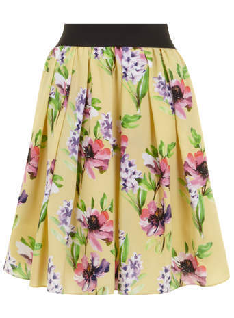 Scarlett & Jo Yellow Floral Print Prom Skirt - style: full/prom skirt; fit: loose/voluminous; waist detail: elasticated waist; waist: high rise; predominant colour: yellow; length: on the knee; fibres: polyester/polyamide - 100%; occasions: occasion, creative work; hip detail: adds bulk at the hips; pattern type: fabric; pattern: florals; texture group: other - light to midweight; season: s/s 2014; pattern size: big & busy (bottom); wardrobe: highlight