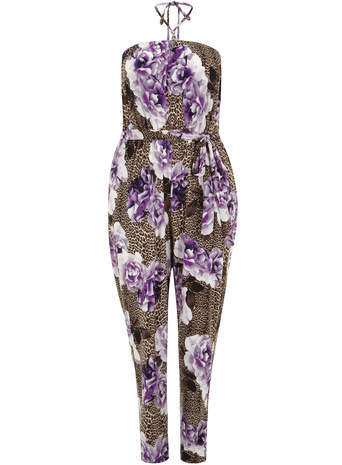 Scarlett & Jo Purple Animal And Floral Jumpsuit - length: standard; fit: fitted at waist; sleeve style: sleeveless; neckline: low halter neck; waist detail: belted waist/tie at waist/drawstring; occasions: casual, holiday; fibres: polyester/polyamide - 100%; predominant colour: multicoloured; sleeve length: sleeveless; style: jumpsuit; pattern type: fabric; pattern size: big & busy; pattern: florals; texture group: other - light to midweight; season: s/s 2014; multicoloured: multicoloured