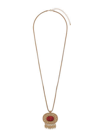 Coral Oval Stone Tassel Necklace - secondary colour: true red; predominant colour: gold; occasions: casual, evening; style: pendant; length: long; size: standard; material: chain/metal; finish: metallic; embellishment: jewels/stone; season: s/s 2014