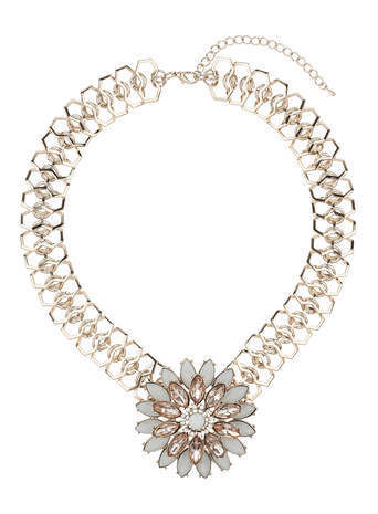 Pastel Pink Flower Statement Necklace - secondary colour: ivory/cream; predominant colour: gold; occasions: evening, occasion; length: short; size: large/oversized; material: chain/metal; finish: metallic; embellishment: jewels/stone; style: bib/statement; season: s/s 2014