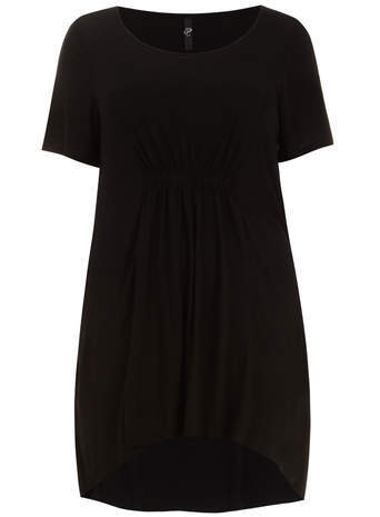 Black Shirred Tunic Top - pattern: plain; length: below the bottom; style: t-shirt; predominant colour: black; occasions: casual; neckline: scoop; fibres: viscose/rayon - stretch; fit: loose; sleeve length: short sleeve; sleeve style: standard; pattern type: fabric; texture group: jersey - stretchy/drapey; season: s/s 2014
