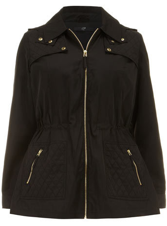 Black Lightweight Parka Jacket - pattern: plain; length: below the bottom; collar: round collar/collarless; style: parka; predominant colour: black; occasions: casual, creative work; fit: straight cut (boxy); fibres: polyester/polyamide - 100%; waist detail: belted waist/tie at waist/drawstring; sleeve length: long sleeve; sleeve style: standard; collar break: high; pattern type: fabric; texture group: other - light to midweight; season: s/s 2014