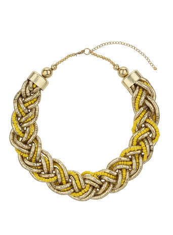 Yellow Beaded Plait Necklace - secondary colour: yellow; predominant colour: gold; occasions: casual, evening, creative work; length: short; size: large/oversized; material: chain/metal; finish: metallic; embellishment: beading; style: bib/statement; season: s/s 2014