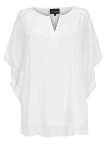 Live Unlimited White Kaftan Style Top - neckline: v-neck; sleeve style: angel/waterfall; pattern: plain; length: below the bottom; style: kaftan; predominant colour: white; occasions: casual, holiday; fibres: polyester/polyamide - 100%; fit: loose; sleeve length: 3/4 length; texture group: cotton feel fabrics; pattern type: fabric; season: s/s 2014