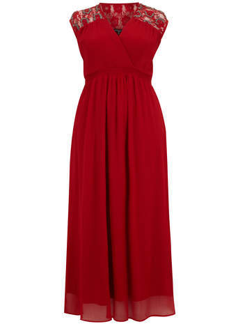 Scarlett & Jo Red Lace Shoulder Maxi Dress - style: faux wrap/wrap; neckline: v-neck; pattern: plain; sleeve style: sleeveless; length: ankle length; occasions: evening, occasion; fit: fitted at waist & bust; fibres: polyester/polyamide - 100%; sleeve length: sleeveless; texture group: sheer fabrics/chiffon/organza etc.; pattern type: fabric; embellishment: lace; predominant colour: raspberry; trends: lace; season: s/s 2014; embellishment location: shoulder