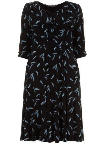 Scarlett & Jo Feather Print Jersey Tea Dress - style: tea dress; length: below the knee; neckline: low v-neck; fit: empire; secondary colour: navy; predominant colour: black; occasions: casual; fibres: viscose/rayon - stretch; sleeve length: short sleeve; sleeve style: standard; pattern type: fabric; pattern size: standard; pattern: patterned/print; texture group: jersey - stretchy/drapey; season: s/s 2014