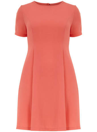 Koko Koko Coral Skater Dress - pattern: plain; predominant colour: coral; occasions: casual, creative work; length: just above the knee; fit: fitted at waist & bust; style: fit & flare; fibres: polyester/polyamide - 100%; neckline: crew; sleeve length: short sleeve; sleeve style: standard; pattern type: fabric; texture group: woven light midweight; season: s/s 2014