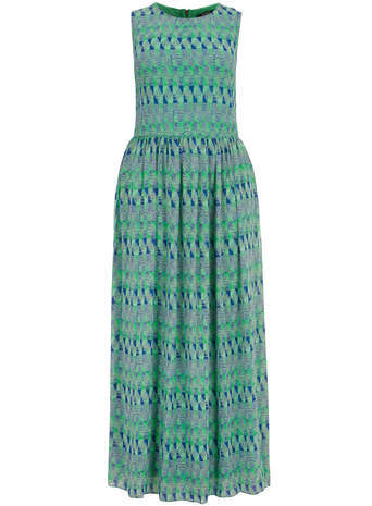 Koko Koko Green Graphic Print Maxi Dress - neckline: round neck; sleeve style: sleeveless; style: maxi dress; length: ankle length; predominant colour: pistachio; secondary colour: teal; occasions: casual, holiday; fit: fitted at waist & bust; fibres: polyester/polyamide - 100%; sleeve length: sleeveless; pattern type: fabric; pattern size: standard; pattern: patterned/print; texture group: other - light to midweight; season: s/s 2014