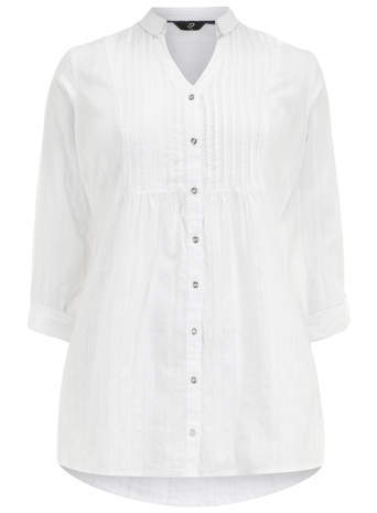 White Dobby Shirt - pattern: plain; length: below the bottom; style: shirt; bust detail: subtle bust detail; predominant colour: white; occasions: casual, holiday, creative work; neckline: collarstand & mandarin with v-neck; fibres: cotton - 100%; fit: loose; sleeve length: 3/4 length; sleeve style: standard; texture group: cotton feel fabrics; pattern type: fabric; season: s/s 2014; wardrobe: basic
