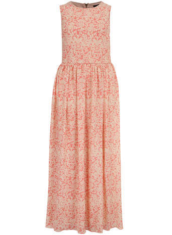 Koko Koko Orange Multi Print Maxi Dress - sleeve style: sleeveless; style: maxi dress; secondary colour: ivory/cream; predominant colour: coral; occasions: casual, occasion; length: floor length; fit: fitted at waist & bust; fibres: polyester/polyamide - 100%; neckline: crew; hip detail: subtle/flattering hip detail; sleeve length: sleeveless; pattern type: fabric; pattern size: light/subtle; pattern: patterned/print; texture group: other - light to midweight; season: s/s 2014
