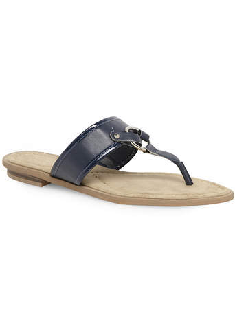 Estelle Navy Metal Ring Trim Sandal - predominant colour: navy; occasions: casual, holiday; material: faux leather; heel height: flat; heel: standard; toe: toe thongs; style: flip flops; finish: plain; pattern: plain; embellishment: chain/metal; season: s/s 2014; wardrobe: highlight
