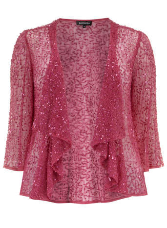 Sorrento Pink Beaded Waterfall Jacket - pattern: plain; collar: shawl/waterfall; fit: slim fit; predominant colour: pink; occasions: casual, evening, occasion; length: standard; fibres: polyester/polyamide - 100%; sleeve length: 3/4 length; sleeve style: standard; collar break: low/open; pattern type: fabric; texture group: other - light to midweight; embellishment: beading; style: fluid/kimono; season: s/s 2014; pattern size: big & busy (top)