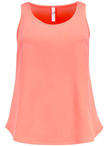 Pink Neon Textured Vest - neckline: round neck; sleeve style: standard vest straps/shoulder straps; pattern: plain; style: vest top; predominant colour: coral; occasions: casual, evening, creative work; length: standard; fibres: polyester/polyamide - stretch; fit: loose; sleeve length: sleeveless; pattern type: fabric; texture group: jersey - stretchy/drapey; season: s/s 2014; trends: zesty shades