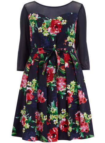 Scarlett & Jo Navy Floral Print Prom Dress - neckline: slash/boat neckline; style: prom dress; waist detail: belted waist/tie at waist/drawstring; secondary colour: true red; predominant colour: navy; occasions: evening, occasion; length: on the knee; fit: fitted at waist & bust; fibres: cotton - stretch; hip detail: adds bulk at the hips; sleeve length: 3/4 length; sleeve style: standard; pattern type: fabric; pattern size: standard; pattern: florals; texture group: other - light to midweight; season: s/s 2014; multicoloured: multicoloured; wardrobe: event; embellishment: contrast fabric; embellishment location: shoulder