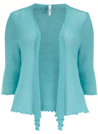 Aqua Open Knit Textured Knit Shrug - pattern: plain; neckline: collarless open; style: open front; predominant colour: turquoise; occasions: casual; length: standard; fibres: acrylic - mix; fit: standard fit; sleeve length: 3/4 length; sleeve style: standard; texture group: knits/crochet; pattern type: knitted - fine stitch; season: s/s 2014