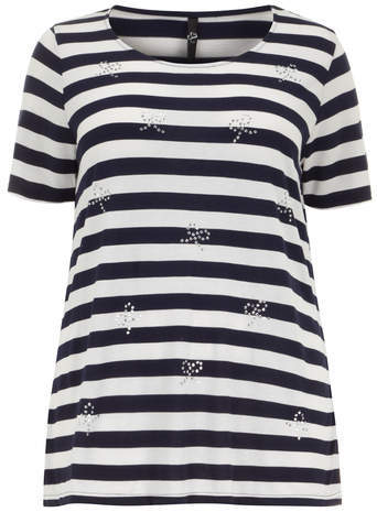 Bow Stud Stripe T Shirt - neckline: round neck; pattern: horizontal stripes; style: t-shirt; secondary colour: white; predominant colour: black; occasions: casual, creative work; length: standard; fibres: viscose/rayon - 100%; fit: body skimming; sleeve length: short sleeve; sleeve style: standard; pattern type: fabric; pattern size: standard; texture group: jersey - stretchy/drapey; embellishment: studs; season: s/s 2014; trends: monochrome