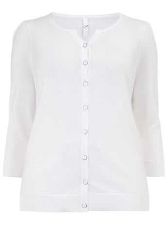 White Cardigan - neckline: round neck; pattern: plain; predominant colour: white; occasions: casual; length: standard; style: standard; fibres: acrylic - 100%; fit: standard fit; sleeve length: 3/4 length; sleeve style: standard; texture group: knits/crochet; pattern type: knitted - fine stitch; season: s/s 2014
