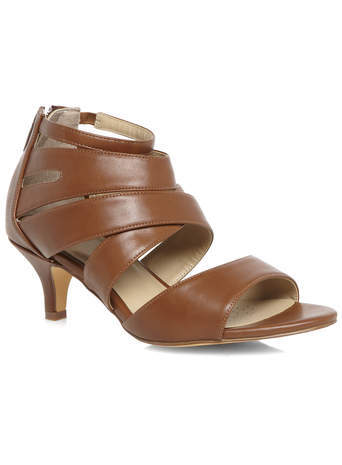 Jamie Tan Strappy Heels - predominant colour: chocolate brown; material: faux leather; heel height: mid; ankle detail: ankle strap; heel: kitten; toe: open toe/peeptoe; style: strappy; finish: plain; pattern: plain; occasions: creative work; season: s/s 2014
