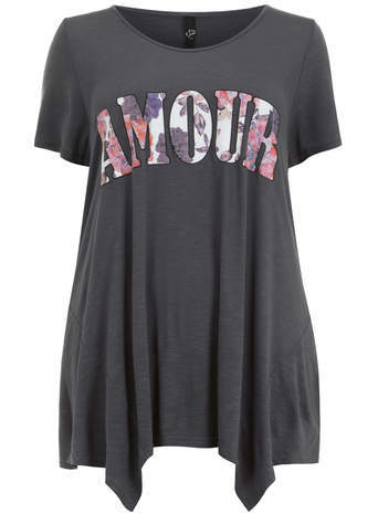 Grey Amour Hanky Hem Top - neckline: round neck; style: t-shirt; secondary colour: purple; predominant colour: charcoal; occasions: casual; length: standard; fibres: viscose/rayon - 100%; fit: loose; hip detail: subtle/flattering hip detail; back detail: longer hem at back than at front; sleeve length: short sleeve; sleeve style: standard; pattern type: fabric; pattern size: standard; texture group: jersey - stretchy/drapey; pattern: graphic/slogan; trends: logos; season: s/s 2014