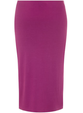 Purple Tube Midi Skirt - length: below the knee; pattern: plain; fit: body skimming; waist: mid/regular rise; predominant colour: purple; occasions: casual, evening, work, creative work; fibres: viscose/rayon - stretch; style: tube; texture group: jersey - clingy; pattern type: fabric; season: s/s 2014