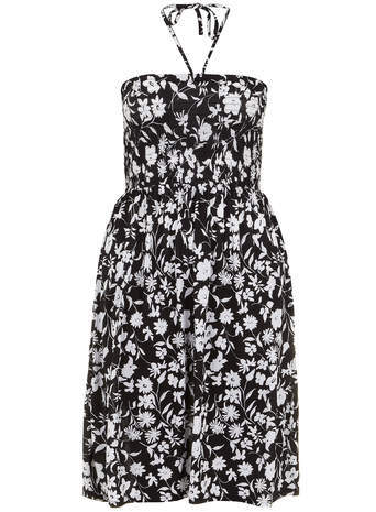 Black Printed Shirred Dress - length: below the knee; sleeve style: sleeveless; style: sundress; neckline: low halter neck; bust detail: subtle bust detail; secondary colour: light grey; predominant colour: black; occasions: casual, holiday; fit: fitted at waist & bust; fibres: viscose/rayon - 100%; hip detail: subtle/flattering hip detail; sleeve length: sleeveless; texture group: cotton feel fabrics; pattern type: fabric; pattern size: standard; pattern: florals; season: s/s 2014; trends: monochrome