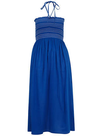 Blue Shirred Bust Maxi Dress - pattern: plain; style: maxi dress; sleeve style: strapless; length: ankle length; neckline: low halter neck; predominant colour: royal blue; occasions: casual; fit: fitted at waist & bust; fibres: cotton - 100%; sleeve length: sleeveless; texture group: cotton feel fabrics; pattern type: fabric; season: s/s 2014