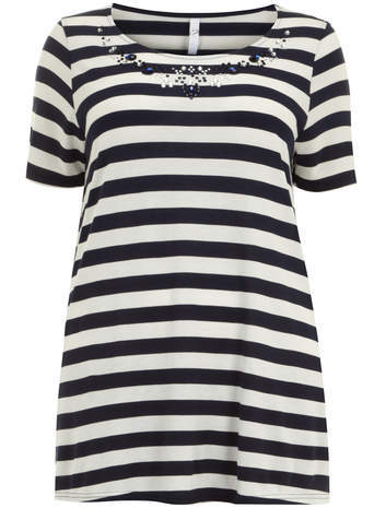 Navy & White Embellished T Shirt - neckline: round neck; pattern: horizontal stripes; bust detail: added detail/embellishment at bust; length: below the bottom; style: t-shirt; secondary colour: white; predominant colour: navy; occasions: casual, creative work; fibres: viscose/rayon - 100%; fit: loose; sleeve length: short sleeve; sleeve style: standard; pattern type: fabric; texture group: jersey - stretchy/drapey; embellishment: jewels/stone; season: s/s 2014; pattern size: big & busy (top)