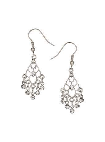 Crystal Chandelier Earrings - predominant colour: silver; occasions: evening, occasion; style: chandelier; length: mid; size: standard; material: chain/metal; fastening: pierced; finish: metallic; embellishment: crystals/glass; season: s/s 2014