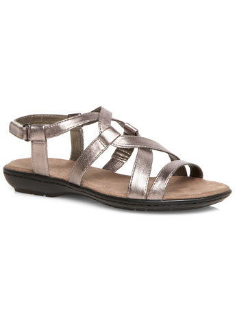 Claire Pewter Strappy Comfort Sandal - predominant colour: silver; occasions: casual, holiday; material: faux leather; heel height: flat; ankle detail: ankle strap; heel: standard; toe: open toe/peeptoe; style: strappy; finish: metallic; pattern: plain; season: s/s 2014