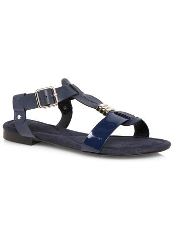 Elle Navy Minimal Strap Sandal - predominant colour: navy; occasions: casual, holiday, creative work; material: faux leather; heel height: flat; ankle detail: ankle strap; heel: standard; toe: open toe/peeptoe; style: standard; finish: patent; pattern: plain; embellishment: chain/metal; season: s/s 2014