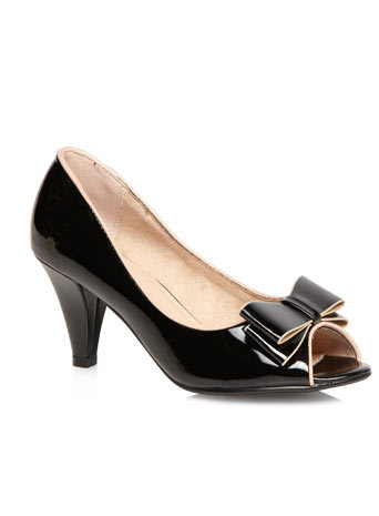 Jemima Black Patent Bow Peeptoe Court Shoe - predominant colour: black; occasions: evening, occasion; material: faux leather; heel height: high; heel: cone; toe: open toe/peeptoe; style: courts; finish: patent; pattern: colourblock; embellishment: bow; season: s/s 2014