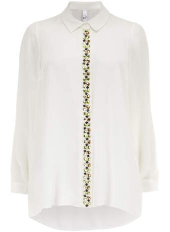 Ivory Embellished Shirt - neckline: shirt collar/peter pan/zip with opening; pattern: plain; length: below the bottom; style: shirt; predominant colour: ivory/cream; occasions: evening, creative work; fibres: polyester/polyamide - 100%; fit: loose; sleeve length: long sleeve; sleeve style: standard; texture group: sheer fabrics/chiffon/organza etc.; pattern type: fabric; embellishment: jewels/stone; season: s/s 2014; wardrobe: highlight