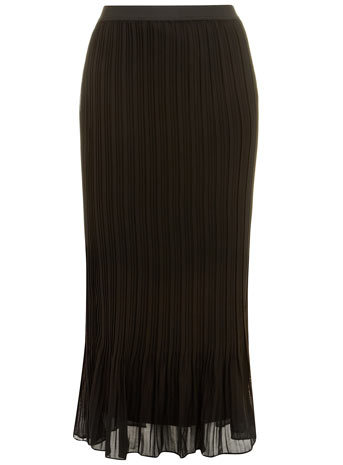 Chiffon Pleated Skirt - pattern: plain; length: ankle length; fit: body skimming; style: pleated; waist: high rise; predominant colour: black; occasions: casual, evening; fibres: polyester/polyamide - 100%; texture group: sheer fabrics/chiffon/organza etc.; trends: powerful pleats, sheer; season: s/s 2014