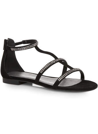 Dorothy Black Diamante H Bar Sandal - secondary colour: silver; predominant colour: black; occasions: casual, holiday; heel height: flat; embellishment: crystals/glass; ankle detail: ankle strap; heel: standard; toe: open toe/peeptoe; style: strappy; finish: plain; pattern: plain; material: faux suede; season: s/s 2014