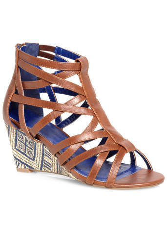 Miley Tan Caged Strap Raffia Wedges - predominant colour: tan; occasions: casual, creative work; material: faux leather; heel height: high; ankle detail: ankle strap; heel: wedge; toe: open toe/peeptoe; style: strappy; finish: plain; pattern: plain; season: s/s 2014
