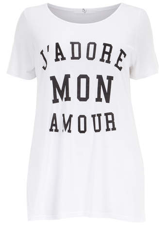 White J'adore Motif T Shirt - neckline: round neck; pattern: plain; length: below the bottom; style: t-shirt; predominant colour: white; secondary colour: black; occasions: casual; fibres: viscose/rayon - 100%; fit: loose; sleeve length: short sleeve; sleeve style: standard; pattern type: fabric; pattern size: standard; texture group: jersey - stretchy/drapey; season: s/s 2014